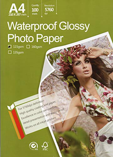 "Great Quality Photo Glossy White Paper A4 100 Sheets 8.3×11.7"" 115 gr weight. Dries Quickly Excellent Price Much better finish Best Look Pictures print for all inkjet printer Beautiful Colors"