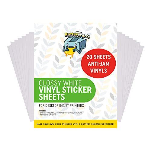 Printable Vinyl for Inkjet Printer Avoid Jams | Printable Vinyl Sticker Paper for Cricut and Silhouette – Glossy Sticker Paper for Inkjet Printer Glossy White | Waterproof | 20 Sheets