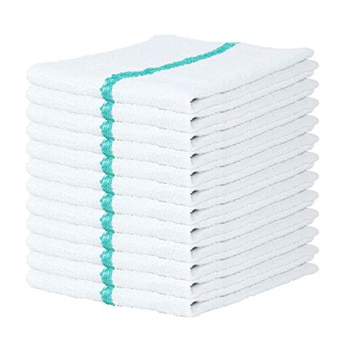 Arkwright Qwick WickTerry Bar Mop Towel Pack of 12, White with Green Stripes Kitchen Towels, Restaurant Cleaning Towels, Rags for Home, Kitchen, Bars 16 x 19 Inch