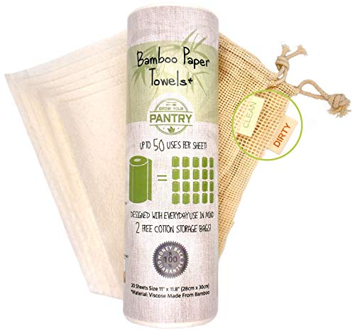 Bamboo Paper Towels From Grow Your Pantry 1 Pack – Comes with TWO Cotton Storage Bags – Eco Friendly, Machine Washable & Reusable for Multipurpose
