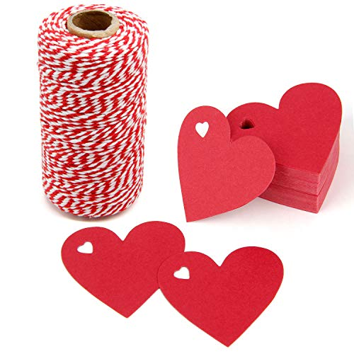 300 Feet Red and White Twine and 100 PCS Gift Tags Valentine's Day Heart Shape Kraft Paper Tags Price Tags by Blisstime red-1