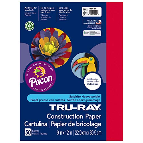 Pacon Tru-Ray Heavyweight Construction Paper, Festive Red,  9″ x 12″, 50 Sheets – 103431