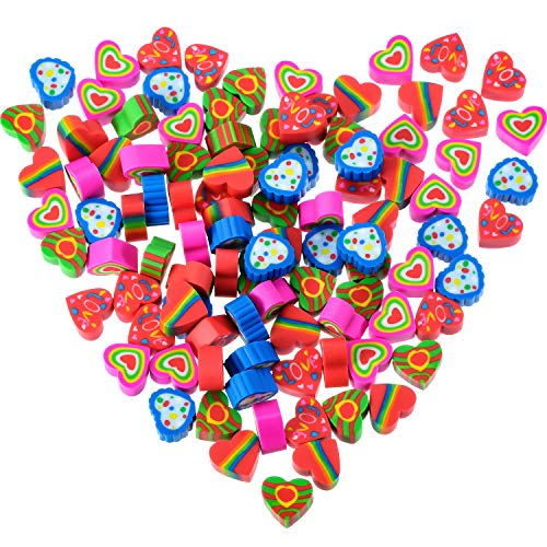 Jovitec 200 Pieces Mini Erasers Assortment Colorful Heart Erasers Novelty Heart Erasers for Party Favors, Homework Rewards, Gift Filling and Art Supplies Style 1, 200 Pieces
