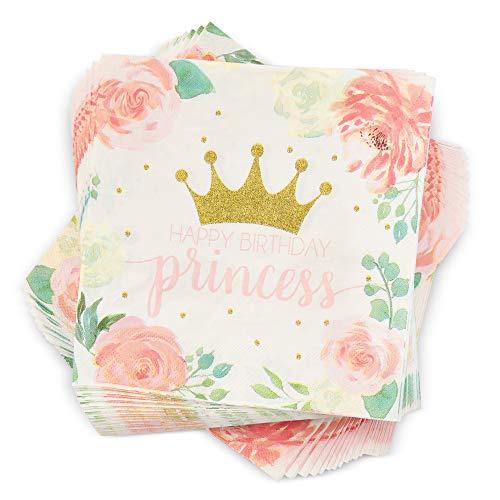 Blue Panda Princess Castle Party Napkins – 6.5 x 6.5 Inches – 100-Pack Princess Party Supplies