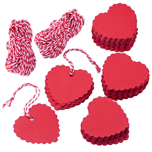 Zealor 200 Pieces Valentine Gift Tags Kraft Paper Heart Shape Design with String for Valentine's Day Wedding Favor Party DecorationsRed