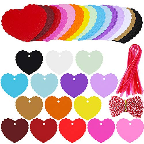 Supla 120 Pcs 15 Colors Valentine's Day Wavy Heart Cut Out Gift Tags with Hole Favor Tags Blank Paper Hang Tags Treats Tags Hang Tags Hang Label Cards Wish Tree Tags and Organza Ribbons Bakers Twine