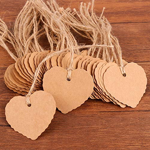 Heart Designs for DIY Holiday Christmas Present Wrap Stamp Label Package Name Thank You Blank Card Merchandise Tags – Coogam 50 Pack Brown Kraft Paper Gift Tags with Twine String Attached Tie on