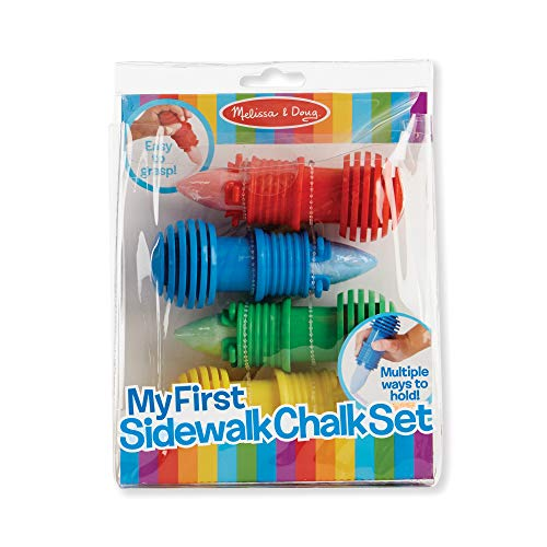 Best for 3, 4, 5, 6, 7 Year Olds and Up – Melissa & Doug My First Sidewalk Chalk Set With Holders 4 Chalk Sticks, 4 Holders, Great Gift for Girls and Boys