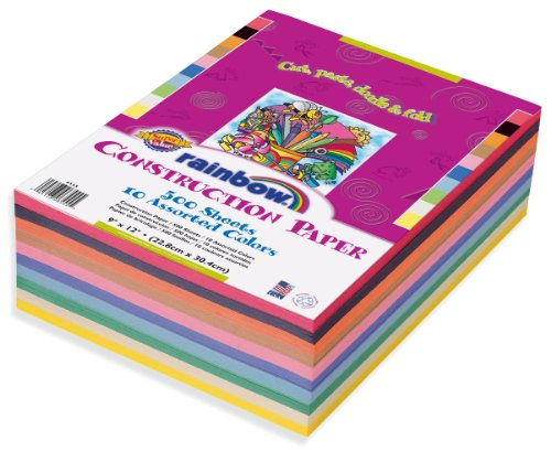Rainbow Super Value Construction Paper, 9 x 12″, Assorted Colors, 500 Count 6555