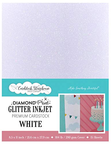 8.5 x 11 inch – White Diamond Print Glitter Inkjet Premium Cardstock – 104lb / 280gsm Cover – 15 Sheets from Cardstock Warehouse