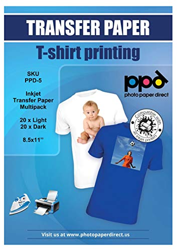PPD Inkjet Iron-On Mixed Light and Dark Transfer Paper LTR 8.5 x 11″ Pack of 40 Sheets PPD005-Mix