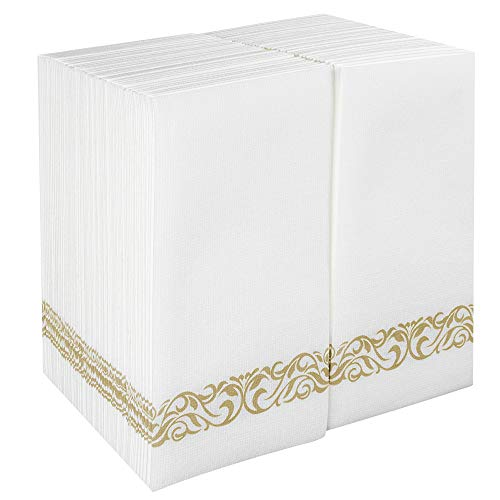 100 Paper Guest Napkins Party Disposable Soft Hand Towels Cloth Like Absorbent Bathroom Tissues Linen Feel for Kitchen,Dinners,Weddings,Events White with Gold