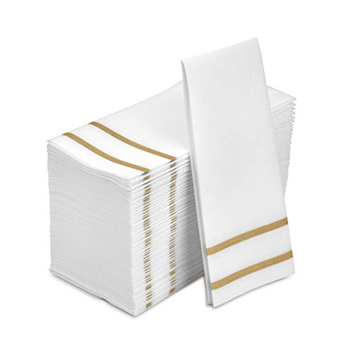 8.5x 4-Inches Folded, – Formal Dinner, Anniversary, and Wedding Napkins for Tables, Guestrooms, and Restrooms – Fete Decorative Hand Towels Disposable, Gold Design 100 Linen-Feel Guest Towels