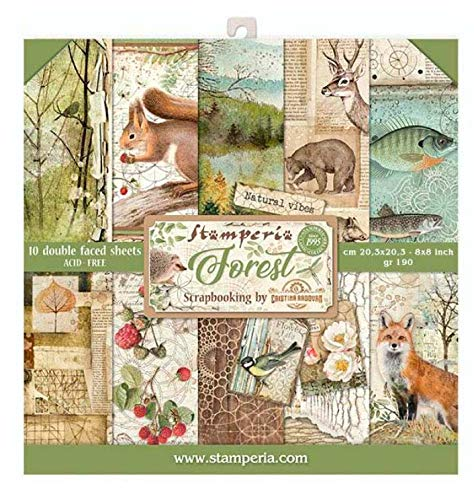 STAMPERIA SBBS06 Paper Pad 10 Sheets 20.3 x 20.3 cm 8″ x 8″ Double-Sided Forest Multi-Coloured
