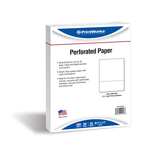 Paris Business Products 3-1/2″ Perforated Office Paper, Letter, 20 lb, 500/Ream, White PRB04128