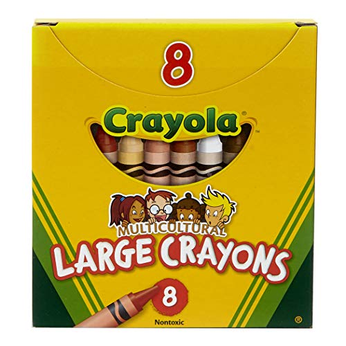 Crayola Multi-Cultural Crayons, Large, 7/16 x 4 Inches, Assorted Skin Tone Colors, Pack of 8