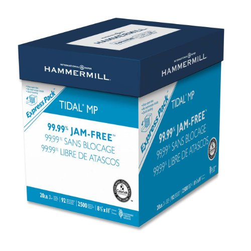 Hammermill Paper, Tidal MP, 20lb, 8.5 x 11, 92 Bright, Letter, 2500 Sheets/ Express Pack no ream wrap, 163120, Made in the USA