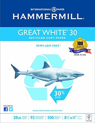 Hammermill Paper,  Great White 30% Recycled Copy Paper Poly Wrap, 20lb,  8.5 x 11, Letter, 92 Bright, 500 Sheets / 1 Ream 086710 Made In The USA