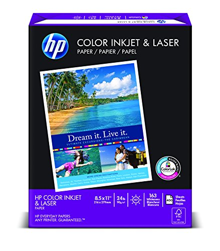HP Paper, Color Inkjet & Laser Poly Wrap, 24 lbs, 8.5 x11, Letter,  97 Bright, 400 Sheets / 1 Ream 202040 Made In The USA