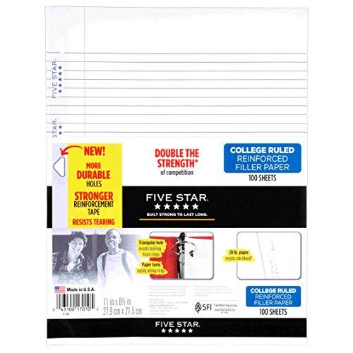 Five Star Filler Paper, College Ruled, Reinforced, Loose Leaf Paper, 11 x 8.5″, 100 Sheets/Pack 17010