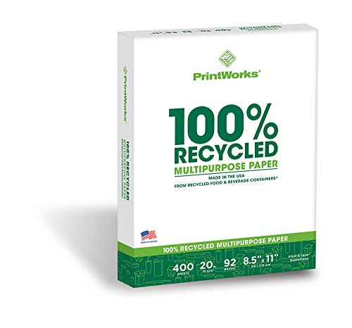 Printworks 100 Percent Recycled Multipurpose Paper, 20 Pound, 92 Bright, 400 sheets, 8.5 x 11 Inches 00018