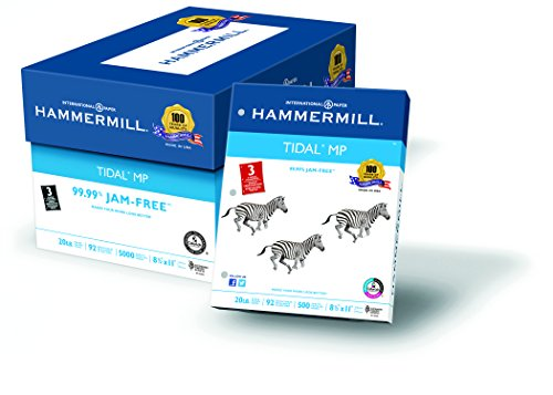 Hammermill Paper,Tidal, 20lb, 8.5 x 11, 3 Hole Punch, 92 Bright, 5000 Sheets / 10 Ream Case 162032C, Made In The USA