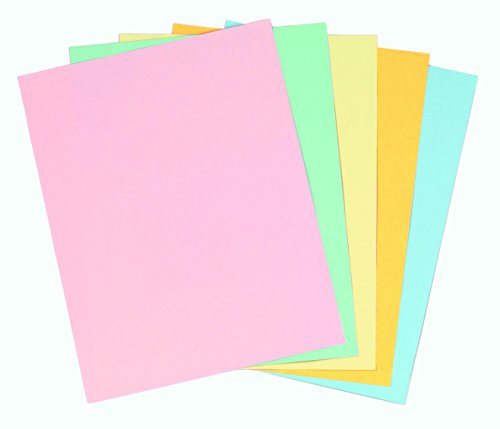 Staples Pastels Colored Copy Paper, Assorted, 8.5 x 11 inch Letter Size, 20lb Density, 30% Recycled, Acid-Free, Pink Green Gold Blue Canary Yellow, 400 Total Sheets 679481