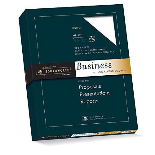 Southworth 100% Cotton Business Paper, 8.5 x 11 Inches, 32 lb, White, 250 per Box JD18C