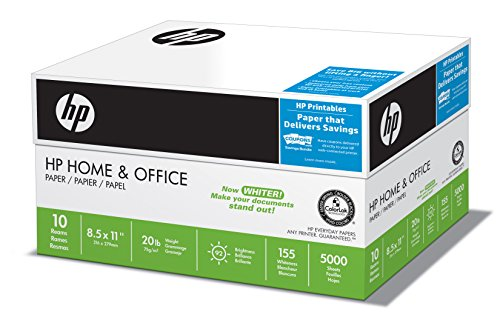 HP Paper, Home & Office, 20lb, 8.5 x 11, Letter, 92 Bright, 5000 Sheets / 10 Ream Case 200510C, Made In The USA