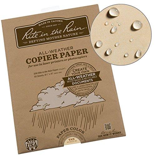 Rite in the Rain Weatherproof Laser, 8 1/2″ x 11″, Tan Colored Printer Paper, 50 Sheet Pack 9511T-50