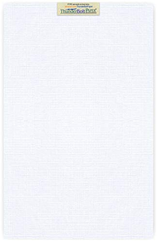 Fine Linen Textured Finish Cardstock – 80 lb/Pound Card Weight – 11″ X 17″ 11X17 Inches Tabloid|Ledger|Booklet Size – 50 Bright White Linen 80# Cover Paper Sheets