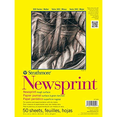 Strathmore 307-18 300 Series Newsprint Pad, Smooth 18″x24″ Tape Bound, 50 Sheets