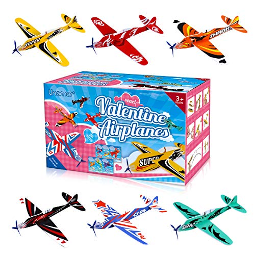 """Unomor Valentines Day Cards for Kids 36 Pack Foam Airplanes and 36 Pack Valentines Cards with 6 Different Designs for Kids Classroom Exchange Party Favors8"""" x 7.5"""""""