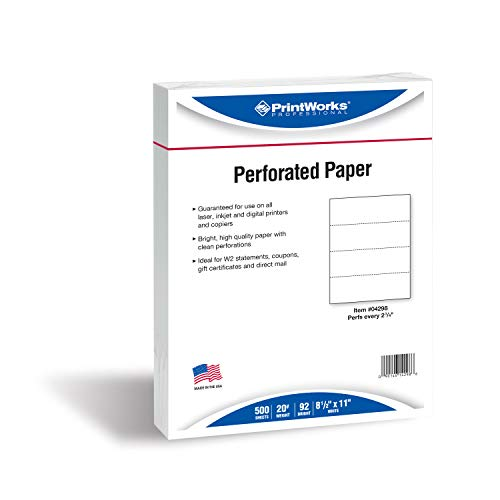 PrintWorks Professional Perforated Paper, 500 Sheets, 4 Part Perf