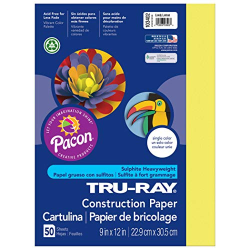 Tru-Ray Heavyweight Construction Paper, Lively Lemon, 9″ x 12″, 50 Sheets