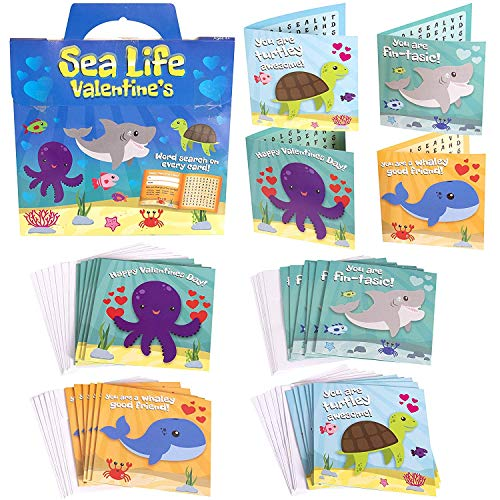 Red Robin Greetings Valentine's Day Cards – Fun Valentine Cards For Kids Sea Life, Word Search Kids Valentines Cards For Boy or Girl 28-Count With Envelopes