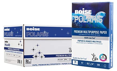 BOISE POLARIS Premium Multipurpose Paper, 8.5 x 14, 97 Bright White, 20 lb, 10 ream carton 5,000 Sheets
