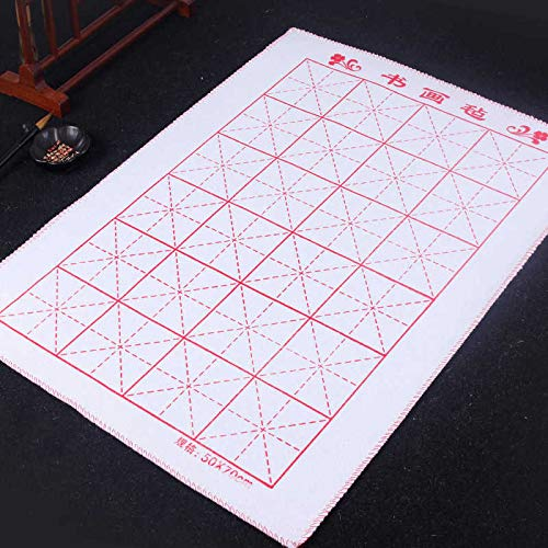 19.68 x 27.55 inch 50 x 70 cm – MEGREZ Chinese Calligraphy Drawing Felt Mat, Sumi Xuan Paper Painting Felt Desk Pad with Grids for Practice Chinese Japanese Calligraphy Brush Paintings Writing, White