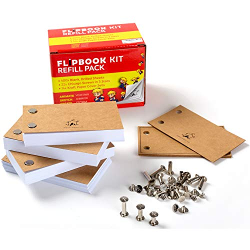 400 Sheets Drawing Paper for Flip Book Kits: Pre-Drilled, 120GSM No-Bleed 4.5″ x 2.5″ Sketch Paper for Drawing, Sketching & Animating, Includes 22 Screws in 3 Sizes – Blank FLIPBOOK Paper with Holes