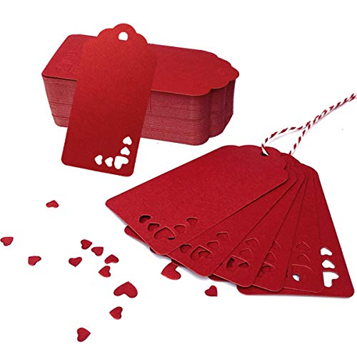 PWWJ Red Kraft Paper Tags 100 PCS Heart Kraft Paper Gift Tags Valentine Craft Hang Tags with Free 100 Feet Red and White Twine for Gifts Arts and Crafts Wedding Holiday Party