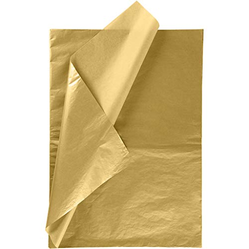 Metallic Gold Tissue Paper for DIY Crafts,Pack Bags – RUSPEPA Gift Wrapping Tissue Paper – 19.5 x 27.5 inches -25 Sheets