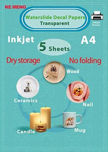 KE MENG A4 Inkjet Waterslide Decal Papers Image Transfer Paper for Inkjet Printer Transparent, 5 Sheets