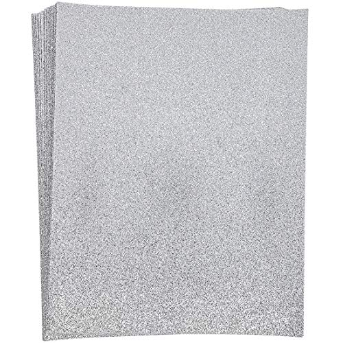 Paper Junkie Silver Glitter Craft Paper, Single Sided, 8.5 x 11 Inches 24 Sheets