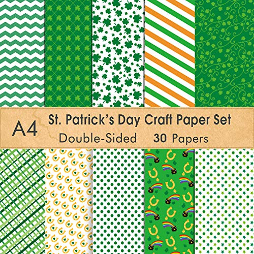 FEPITO 30 Sheets St.Patricks Day Pattern Paper Set, A4 Size Decorative Paper Card Making Scrapbook Decoration,St.Patricks Day Party Supplies