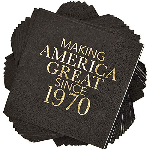 Sparkle and Bash Making America Great Since 1970 Birthday Napkins 5 x 5 in, Black, 50 Pack