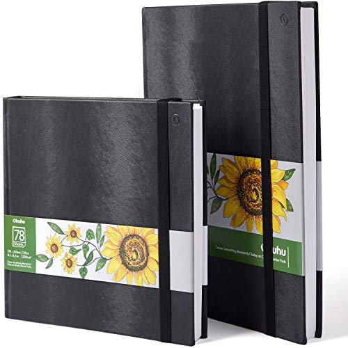 Ohuhu Marker Pads Art Sketchbooks, 2-pack 8.3″×8.3″& 8.3″×11.7″, 120 LB/200GSM Smooth Drawing Papers, Each Size Holds 78 Sheets/156 Pages, Hardcover Sketch Book, Specially Designed for Alcohol Markers