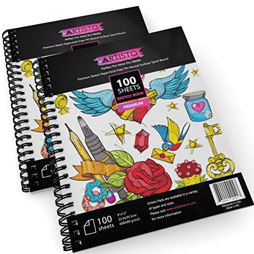 Artisto 9×12″ Premium Spiral Bound Sketch Book Set, Pack of 2, 200 Sheets 89g/m2, Acid-Free Drawing Paper, Ideal for Kids, Teens & Adults.