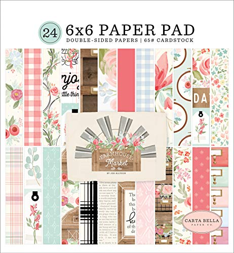 Carta Bella Paper Company CBFAR113023 Farmhouse Market 6×6 Pad Paper, Pink, Teal, Black, Woodgrain, Cream